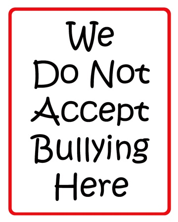 no way out: We do not accept bullying here black and red sign