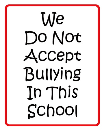 bulling: No aceptamos la intimidaci�n en esta escuela signo rojo y negro