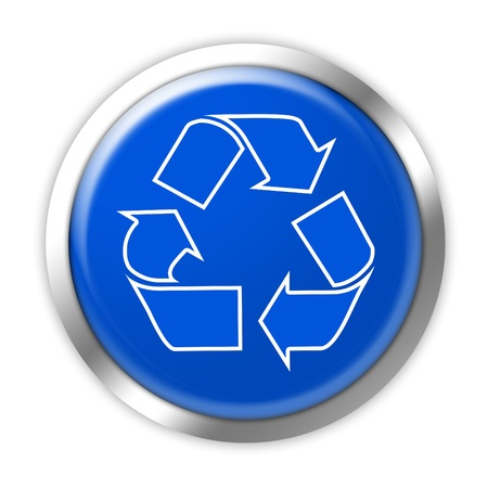 waste recovery: Blue and white recycling button on a white background.