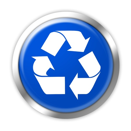 blue button: Blue recycling button on a white background
