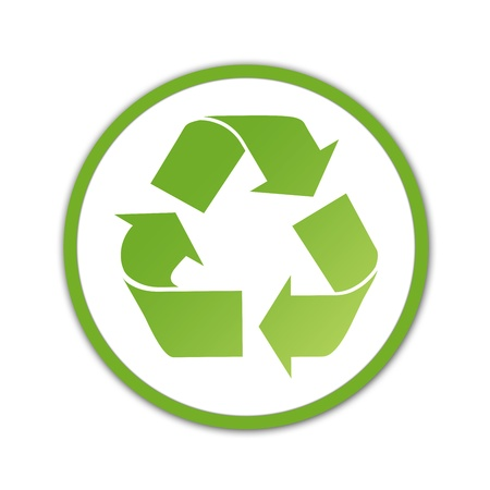 recycling: Gradient green recycling logo on white background. Stock Photo