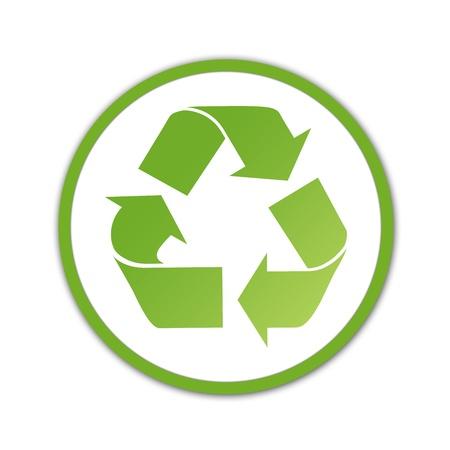 logo recyclage: Logo de recyclage dégradé vert sur fond blanc. Banque d'images