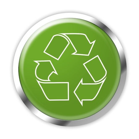 Green recycling button on white background