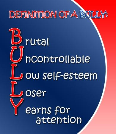 bulling: Definición azul y rojo de un cartel de Bully Foto de archivo