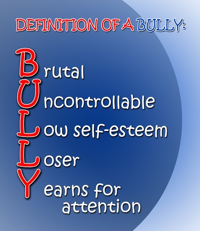 Gradient blue and red Definition of a Bully poster Stock Photo