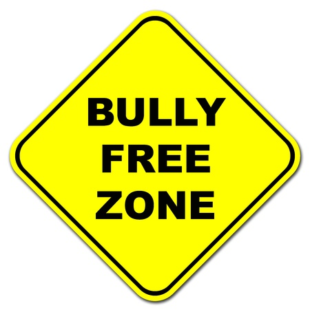teasing: Yellow Bully Free Zone road sign Stock Photo