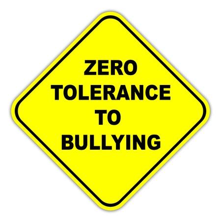 tolerancia: Tolerancia cero a la intimidaci�n signo Foto de archivo