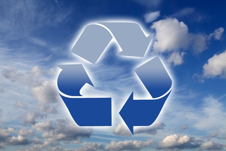 waste recovery: Gradient blue recycling logo on a sky background