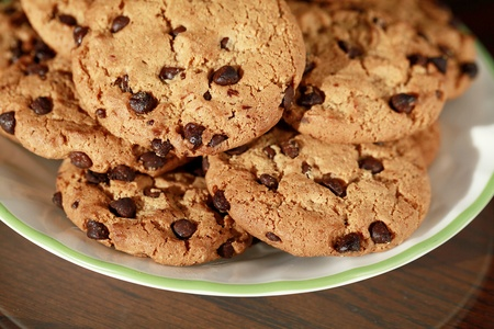 chocolaty: Delicious plate of chocolate chip cookies