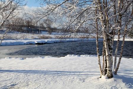 Téli táj körül található egy kis tó található Quebec, Kanada Stock fotó