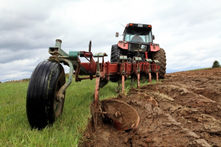 tree disc: Tractor pulling a plough