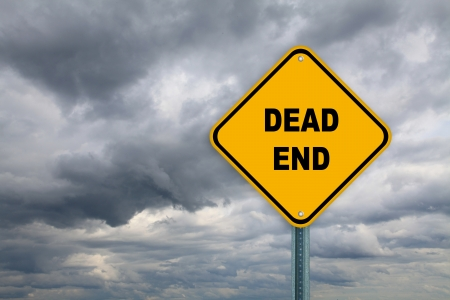 Yellow dead end road sign on a cloudy sky background  Stock Photo - 14227934