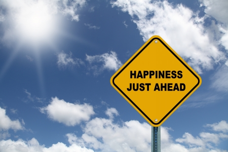 just ahead: Happiness just ahead road sign on a sky background  Stock Photo