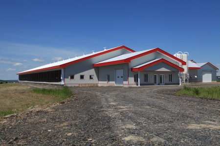Newly constructed modern dairy barn located in Quebec, Canada