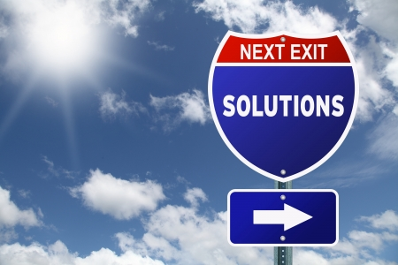 Motivational Interstate road sign Solutions Next Exit photo