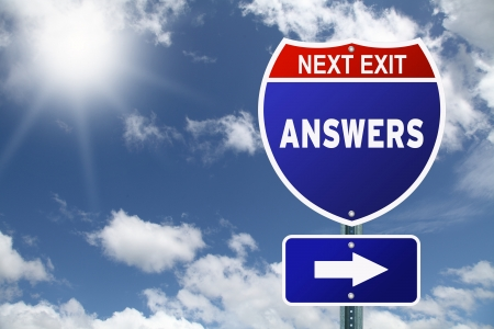 Motivational Interstate road sign Answers Next Exit photo