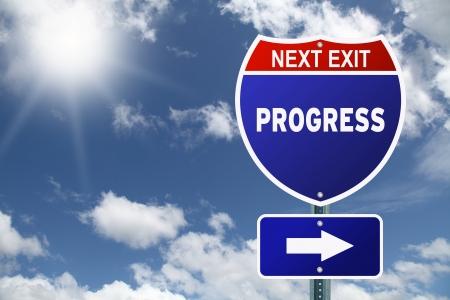 tivational Interstate road sign Progress Next Exit