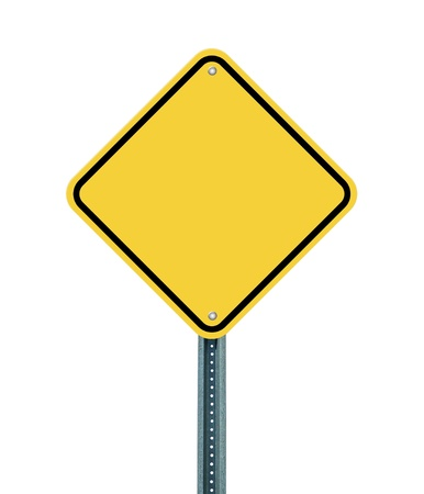 hazard sign: Blank yellow road sign on white background Stock Photo