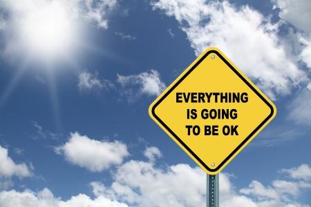 Sárga Minden OK lesz óvatossági út jele
