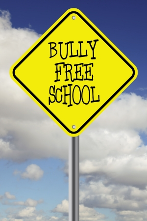 Yellow bully free school road sign photo