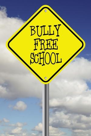 anti social: Yellow bully free school road sign
