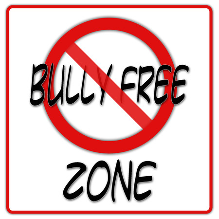 Bully free zone sign with red border photo