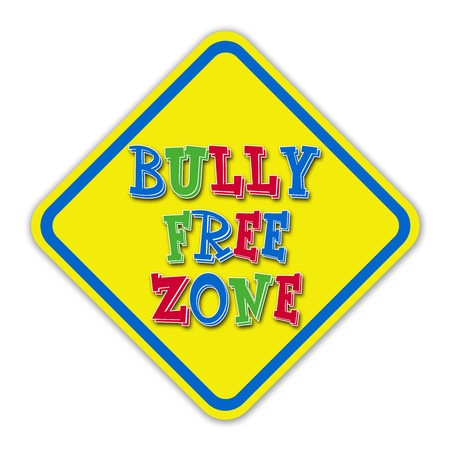 Colorful bully free zone signwith blue border against a white background photo