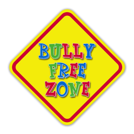 Colorful bully free zone sign with red border against a white background