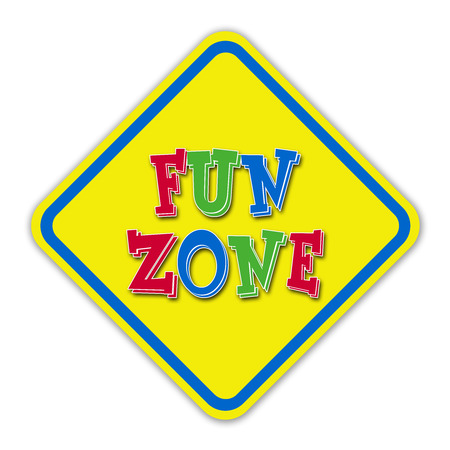 recess: Yellow fun zone road sign against a white background  Stock Photo