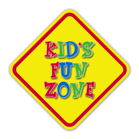 Yellow kid  fun zone road sign against a white background