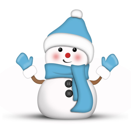 blushing: Amusing snowman dressed in blue against a white background Stock Photo