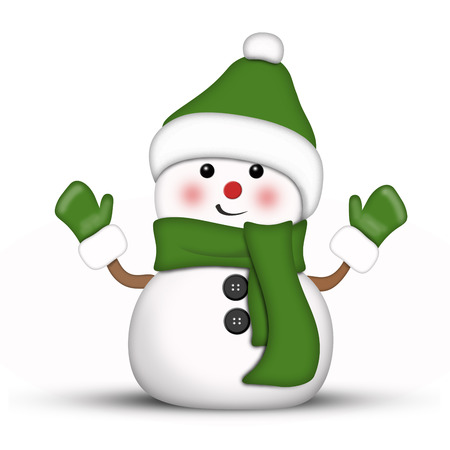 AMusing snowman dressed in green against a white background Imagens