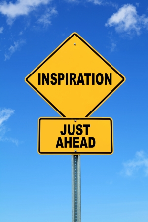 hopeful: Yellow motivational road sign inspiration just ahead Stock Photo