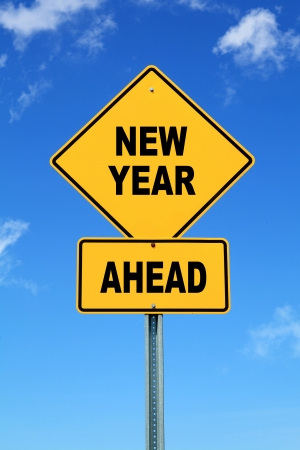 Yellow road sign New year ahead