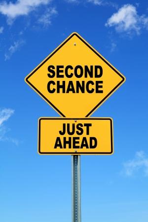 記号の 2 番目のチャンスの黄色のやる気を起こさせる道先
