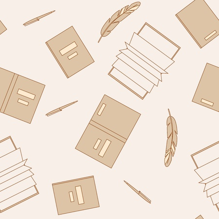 gamma: Books and pens in beige color gamma. Seamless pattern