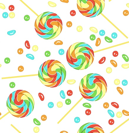 lollipops: Candy and lollipops on white background. Seamless pattern. Illustration
