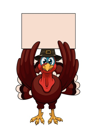 A cartoon thanksgiving turkey in a pilgrim hat with blank on white background Vector
