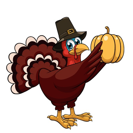 thanksgiving turkey: A cartoon thanksgiving turkey in a pilgrim hat holds pumpkin on white background
