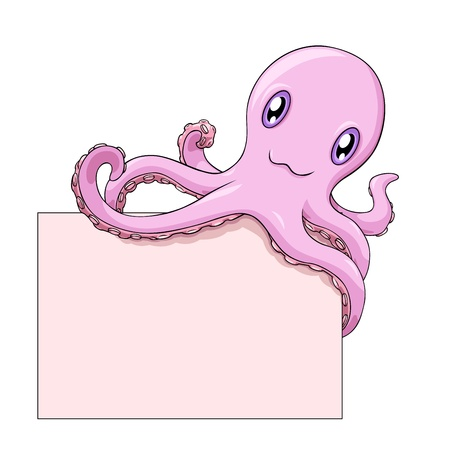 tentacles: Pink smiling cartoon octopus holds a blank on white background; vector illustration