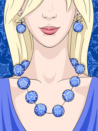 head dress: A young blonde woman with Christmas earrings and necklace