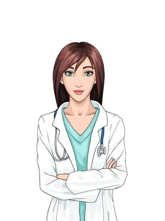 Mooie cartoon lachende verpleegkundige op een witte achtergrond; vectorillustratie