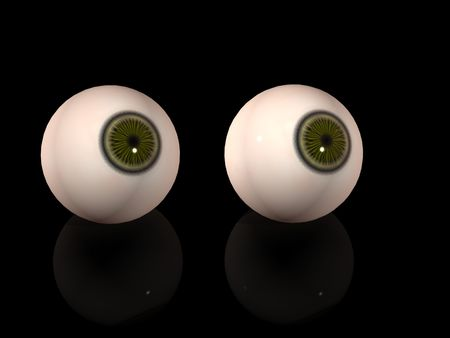 Two eyes over black background