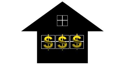 Credit line  HTML Code    © Lu Ming   Dreamstime com  Title   Dollar sign  Description   A golden dollar sign over black house background  Stock Photo