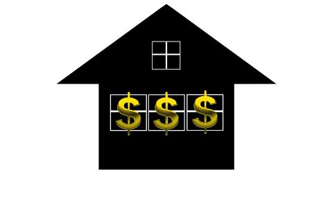 Credit line  HTML Code    © Lu Ming   Dreamstime com  Title   Dollar sign  Description   A golden dollar sign over black house background  Stock Photo