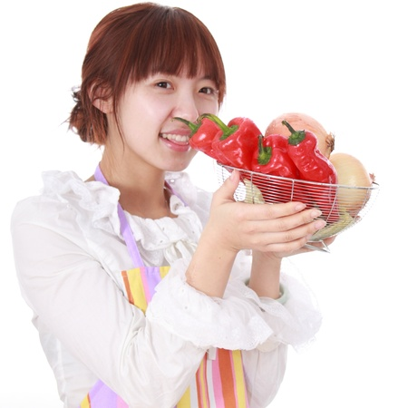 woman  with various kinds vegetable