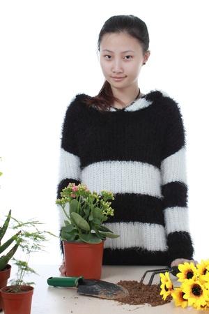 Active Chinese girl Gardening photo