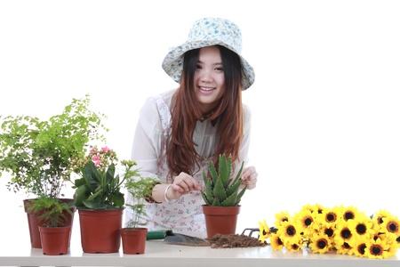 Active Chinese girl Gardening