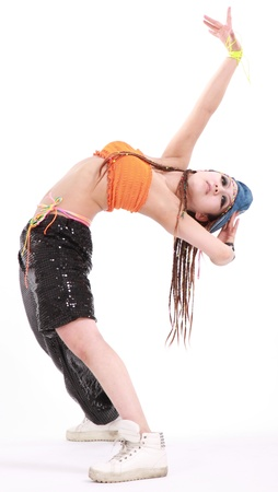 Cute girl in various dance costumes and fun poses. photo