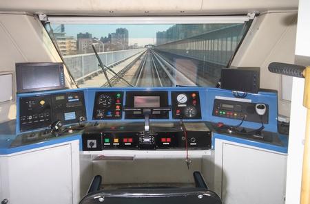 Closeup of train control room Archivio Fotografico